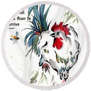 Round Beach Towel featuring the painting Walkabout With Buddha Quote I by Bill Searle