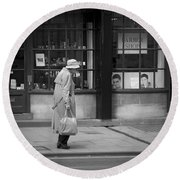 Walking Down The Street Round Beach Towel by Chevy Fleet