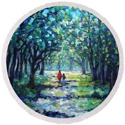 Walking In The Park Round Beach Towel