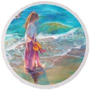 Walking In The Waves Round Beach Towel