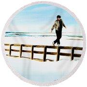 Walking On Fences Round Beach Towel