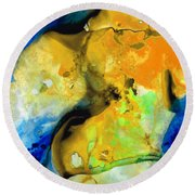 Walking On Sunshine - Abstract Painting By Sharon Cummings Round Beach Towel