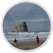 Walking On The Beach Round Beach Towel by Susan Garren