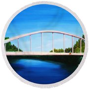 Walking On The Bridge  Round Beach Towel