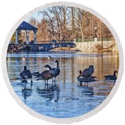 Walking On Thin Ice Round Beach Towel