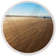 Walking On Windy Beach. Round Beach Towel