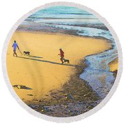 Walking The Dogs Round Beach Towel