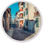 walking through Grado - through the past Round Beach Towel