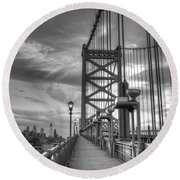Walking To Philadelphia Round Beach Towel