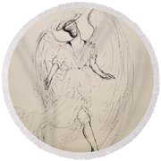 Walking With An Angel Round Beach Towel