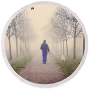 Walking With The Dog Round Beach Towel