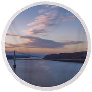 Walkway Over The Hudson Dawn Round Beach Towel by Joan Carroll