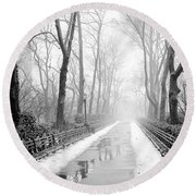 Walkway Snow And Fog Nyc Round Beach Towel