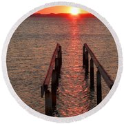 Round Beach Towel featuring the photograph Walkway To The Sun by Alan Socolik