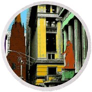 New York Pop Art - Blue Green Red Yellow Round Beach Towel by Art America Gallery Peter Potter