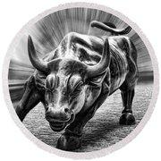 Wall Street Bull Black And White Round Beach Towel