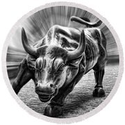 Wall Street Bull Black And White Round Beach Towel