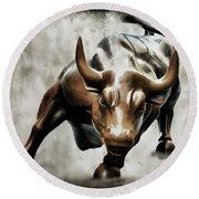 Wall Street Bull II Round Beach Towel