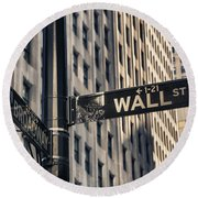 Wall Street Sign Round Beach Towel