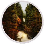 Wallace Fall North Fork Round Beach Towel by James Heckt