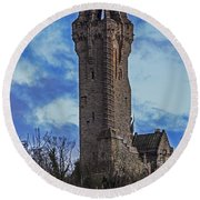 Wallace Monument During Sunset Round Beach Towel
