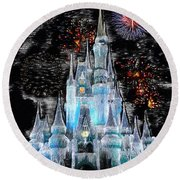 Walt Disney World Frosty Holiday Castle Round Beach Towel