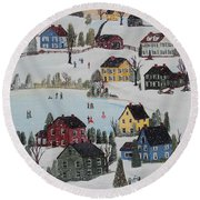 Round Beach Towel featuring the painting Waltzing Snow by Virginia Coyle