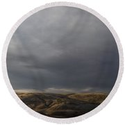 Waning Light On The Hills Of South Dakota Round Beach Towel