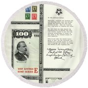 War Bonds, Stamps And A Letter Round Beach Towel