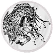 War Horse - Zentangle Round Beach Towel