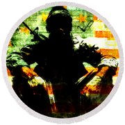 Round Beach Towel featuring the painting War Is Hell by Brian Reaves