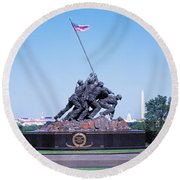 War Memorial With Washington Monument Round Beach Towel by Panoramic Images