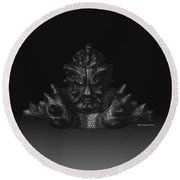 Round Beach Towel featuring the sculpture Warlord by R Muirhead Art
