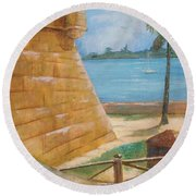 Warm Days In St. Augustine Round Beach Towel