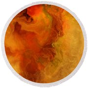 Warm Embrace - Abstract Art Round Beach Towel