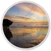 Warm Glow Of Memory Round Beach Towel