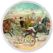 Warm-up Lap 1893 Round Beach Towel by Padre Art