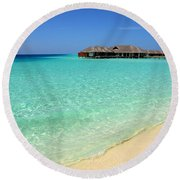Warm Welcoming. Maldives Round Beach Towel by Jenny Rainbow