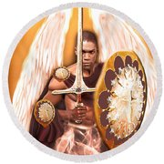 Warrior Angel Round Beach Towel