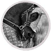 Warrior Horse Round Beach Towel