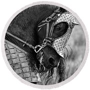 Warrior Horse Round Beach Towel