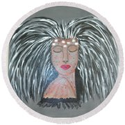 Warrior Woman #2 Round Beach Towel