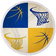 Warriors Ball And Hoop Round Beach Towel