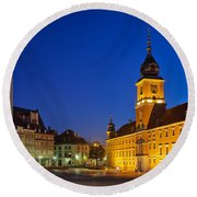 Warsaw By Night Round Beach Towel