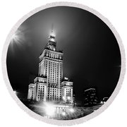 Warsaw Poland Downtown Skyline At Night Round Beach Towel