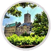 Round Beach Towel featuring the photograph Wartburg Castle - Eisenach Germany - 1 by Mark Madere