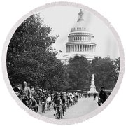 Washington Bicycle Parade Round Beach Towel