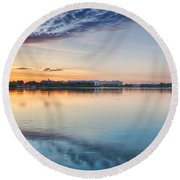 Washington Dc Panorama Round Beach Towel by Sebastian Musial