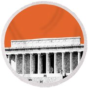 Washington Dc Skyline Lincoln Memorial - Coral Round Beach Towel