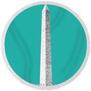 Washington Dc Skyline Washington Monument - Teal Round Beach Towel